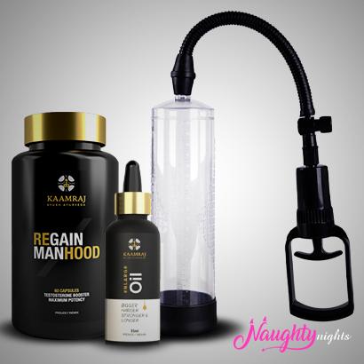 Sexual Health Kit For Men (Enlargement Pump + Oil + Regain Manhood)