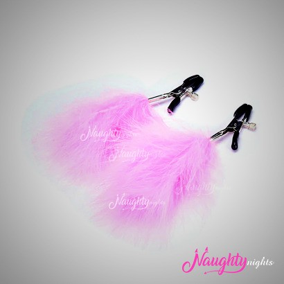 Nipple Clamps Stimulator with Pink Furr